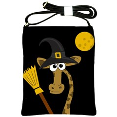 Halloween Giraffe Witch Shoulder Sling Bags by Valentinaart