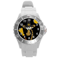 Halloween Giraffe Witch Round Plastic Sport Watch (l) by Valentinaart