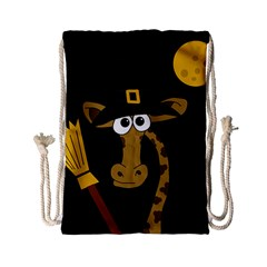 Halloween Giraffe Witch Drawstring Bag (small) by Valentinaart