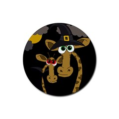 Giraffe Halloween Party Rubber Round Coaster (4 Pack)