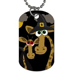 Giraffe Halloween Party Dog Tag (two Sides) by Valentinaart