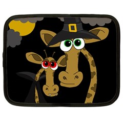 Giraffe Halloween Party Netbook Case (large) by Valentinaart
