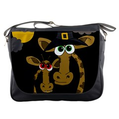 Giraffe Halloween Party Messenger Bags by Valentinaart