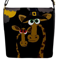 Giraffe Halloween Party Flap Messenger Bag (s) by Valentinaart