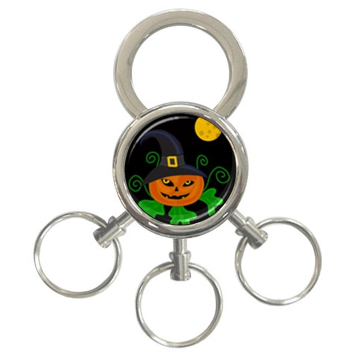 Halloween witch pumpkin 3-Ring Key Chains