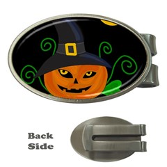 Halloween Witch Pumpkin Money Clips (oval)  by Valentinaart