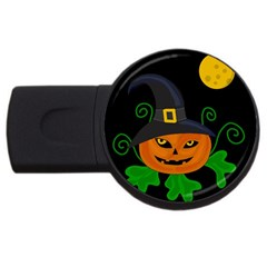 Halloween Witch Pumpkin Usb Flash Drive Round (2 Gb)  by Valentinaart