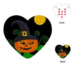 Halloween Witch Pumpkin Playing Cards (heart)  by Valentinaart