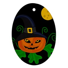 Halloween Witch Pumpkin Oval Ornament (two Sides) by Valentinaart