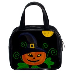 Halloween Witch Pumpkin Classic Handbags (2 Sides) by Valentinaart