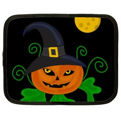 Halloween Witch Pumpkin Netbook Case (xxl)  by Valentinaart