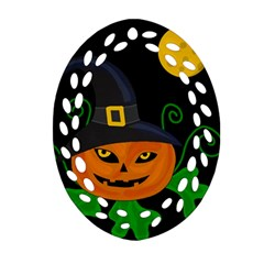 Halloween Witch Pumpkin Ornament (oval Filigree)  by Valentinaart