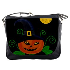 Halloween Witch Pumpkin Messenger Bags by Valentinaart