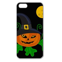 Halloween Witch Pumpkin Apple Seamless Iphone 5 Case (clear) by Valentinaart