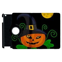 Halloween Witch Pumpkin Apple Ipad 3/4 Flip 360 Case by Valentinaart