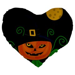 Halloween Witch Pumpkin Large 19  Premium Flano Heart Shape Cushions by Valentinaart