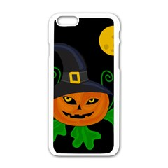 Halloween Witch Pumpkin Apple Iphone 6/6s White Enamel Case by Valentinaart
