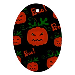 Halloween Pumpkin Pattern Oval Ornament (two Sides) by Valentinaart