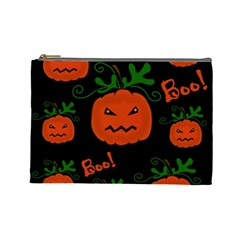 Halloween Pumpkin Pattern Cosmetic Bag (large)  by Valentinaart