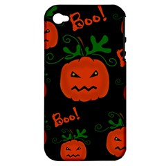 Halloween Pumpkin Pattern Apple Iphone 4/4s Hardshell Case (pc+silicone) by Valentinaart