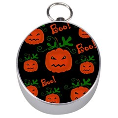 Halloween Pumpkin Pattern Silver Compasses by Valentinaart