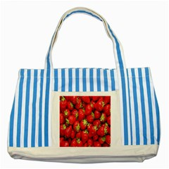 Red Fruits Striped Blue Tote Bag