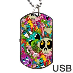 Sick Pattern Dog Tag Usb Flash (two Sides)  by AnjaniArt
