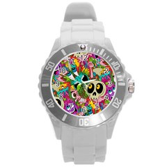Sick Pattern Round Plastic Sport Watch (l)