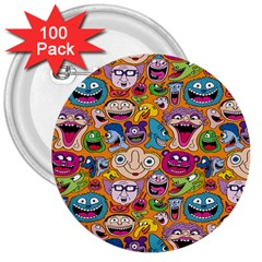 Smiley Pattern 3  Buttons (100 Pack)