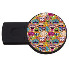 Smiley Pattern Usb Flash Drive Round (2 Gb)  by AnjaniArt
