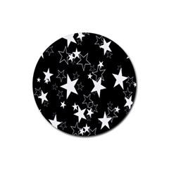 Star Black White Rubber Round Coaster (4 Pack)