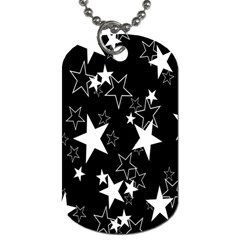 Star Black White Dog Tag (one Side)