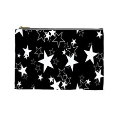 Star Black White Cosmetic Bag (large)  by AnjaniArt