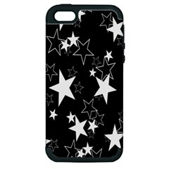 Star Black White Apple Iphone 5 Hardshell Case (pc+silicone) by AnjaniArt