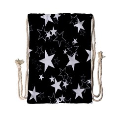 Star Black White Drawstring Bag (small) by AnjaniArt