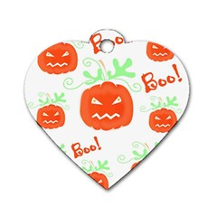 Halloween Pumpkins Pattern Dog Tag Heart (one Side) by Valentinaart