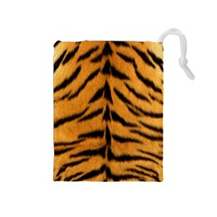Tiger Skin Drawstring Pouches (medium)  by AnjaniArt
