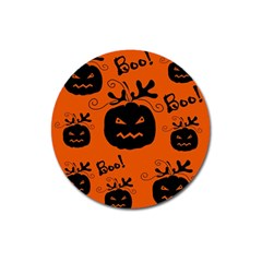 Halloween Black Pumpkins Pattern Magnet 3  (round) by Valentinaart