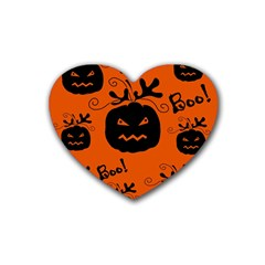 Halloween Black Pumpkins Pattern Rubber Coaster (heart)  by Valentinaart