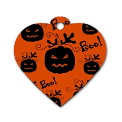 Halloween Black Pumpkins Pattern Dog Tag Heart (two Sides) by Valentinaart