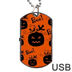 Halloween Black Pumpkins Pattern Dog Tag Usb Flash (one Side) by Valentinaart