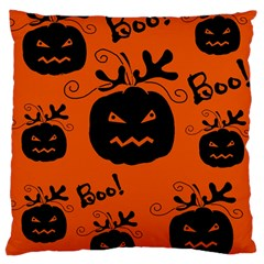 Halloween Black Pumpkins Pattern Large Cushion Case (two Sides) by Valentinaart