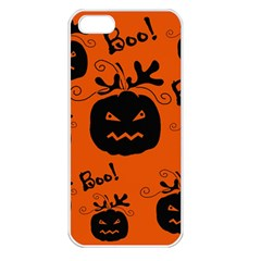 Halloween Black Pumpkins Pattern Apple Iphone 5 Seamless Case (white) by Valentinaart
