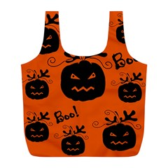 Halloween Black Pumpkins Pattern Full Print Recycle Bags (l)  by Valentinaart