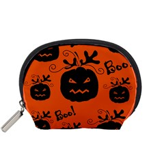 Halloween Black Pumpkins Pattern Accessory Pouches (small)  by Valentinaart