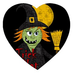 Halloween Witch Jigsaw Puzzle (heart) by Valentinaart