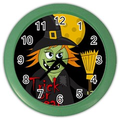 Halloween Witch Color Wall Clocks by Valentinaart