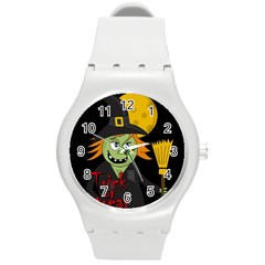 Halloween Witch Round Plastic Sport Watch (m) by Valentinaart