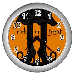 Halloween   Witch Boots Wall Clocks (silver)  by Valentinaart