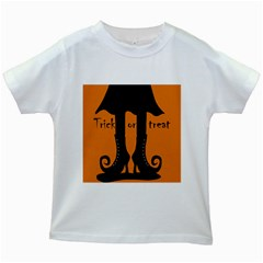 Halloween   Witch Boots Kids White T Shirts by Valentinaart